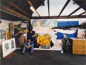 Photo of the artist Steve Bonner in his studio