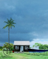 Steve Bonners painting of a chatel house & fishing boat in Barbados