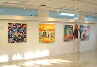 Steve Bonner at his show in The Gallery of Caribbean Art Barbados